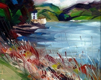 The Boathouse, Laugharne 7'' x 5'' Art Greetings Card. Quality printed card, blank inside.