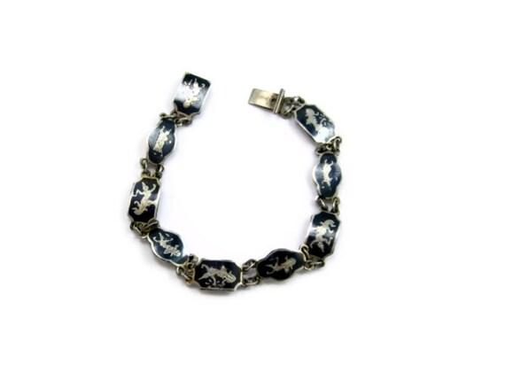 vintage sterling silver siam bracelet niello