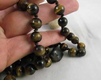 Vintage Tiger Eye Beaded Stone Necklace Fabulous Hand Knotted Set