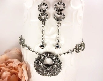 Art Deco Necklace And Earrings in Gunmetal Grey And Swarovski Crystals Featuring A Dramatic Pendant