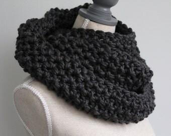 ASTORIA,big gray scarf,charcoal grey chunky scarf,wool infinity scarf,grey eternity scarf,textured scarf,grey neck wrap,grey winter scarf