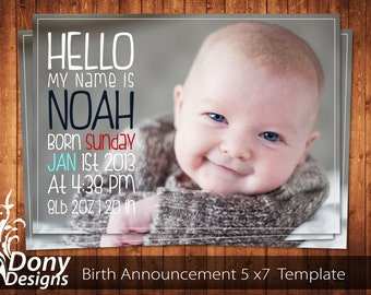 BUY 1 GET 1 FREE Birth Announcement - Neutral Baby Announcement Card - Photoshop Template Instant Download: cardcode-128
