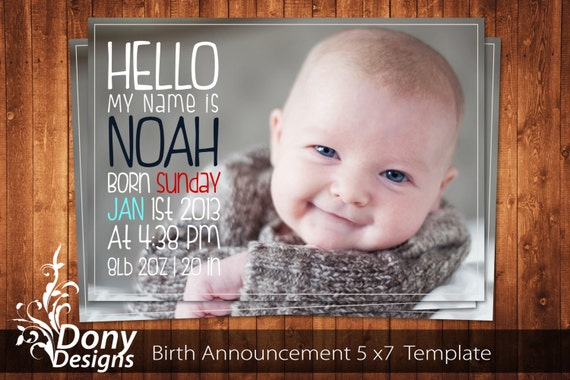 Buy 1 get 1 free birth announcement neutral baby by for Baby birth announcements templates for free