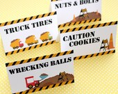Construction Birthday Party - Set of 8 Food Label Table Tents