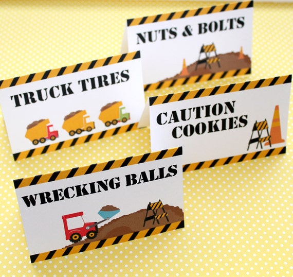 Construction Birthday Party Set Of 8 Food Label Table Tents