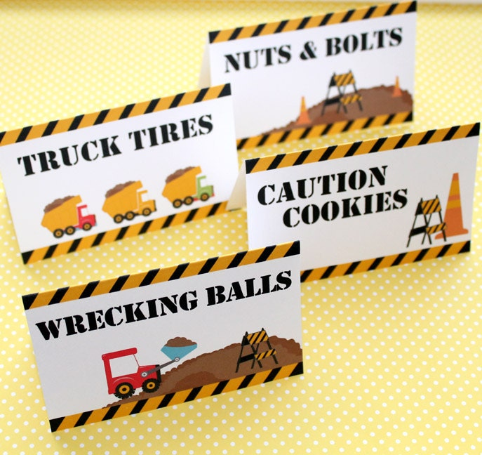 Construction Birthday Party Food Ideas: Construction Birthday Party Set Of 8 Food Label Table Tents