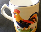 Royal Rooster Coffee Mugs Made in Hungary Hand-Painted Pristine Condition