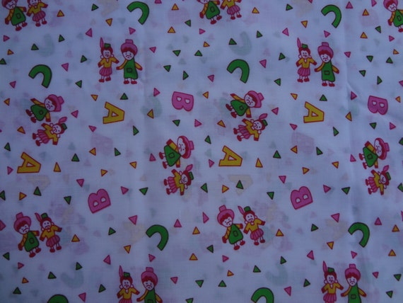 White nursery print pure cotton fabric half by for Nursery print fabric