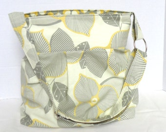 Diaper bag, purse medium pleated- Amy Butler optic blossom with martini- adjustable strap