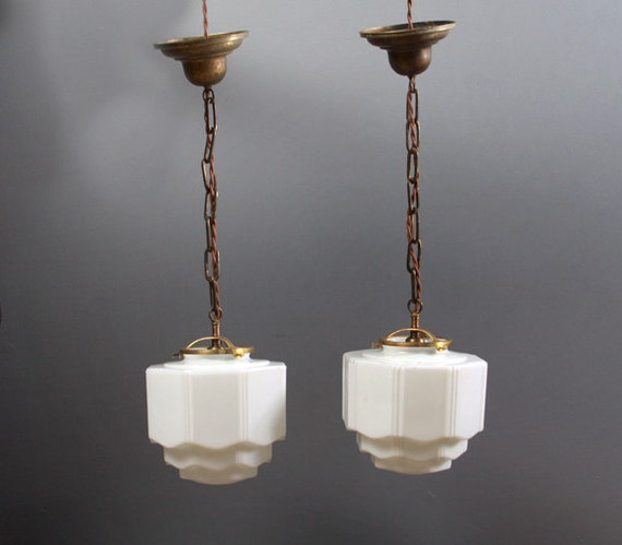 Light Tower Globes: PAIR Vintage Skyscraper Shade Pendent Lights Pair By
