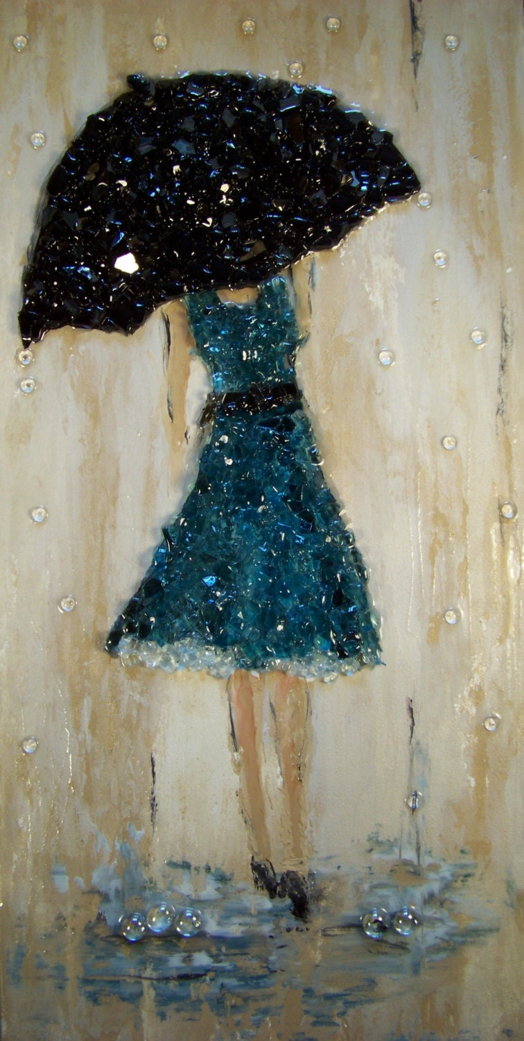 SOLD Crushed glass blue rain 12 x 24 x 112 heavy by
