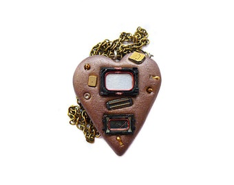 Cyberpunk necklace Polymer clay necklace OOAK Heart necklace Cell phone parts Bronze necklace Valentines day necklace  Casual necklace