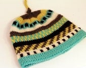 CALVIN: Handknit baby hat, 6 month size, stripes, embroidery, knot topper