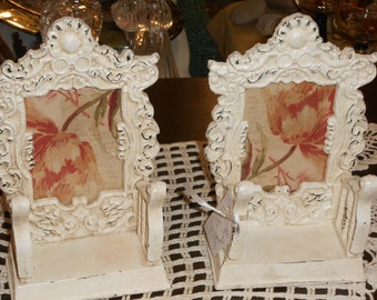 Pair Shabby Chic, Off White, Resin, Ornate Design, Hand Painted, Picture Frames