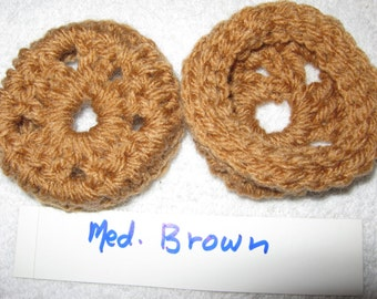 MEDIUM BROWN Ear Pads-Cushions-Cookies for Phone Headset, Call Center, Hand-crochetted, NEW.