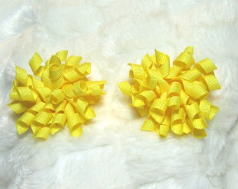Yellow Korker Hair Bow Set - Matching Petite Bow Set - Great for Pigtails or as a Single