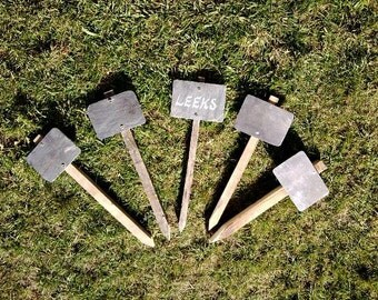 Wood and slate garden/allotment row markers -set of 5 with chalk pen