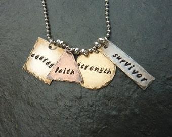 Survivor Necklace - Courage, Faith, Strength, Survivor