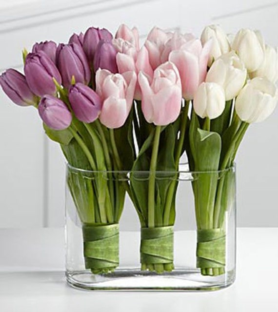 ARTIFICIAL TULIPS Flower ARRANGEMENT Pink White and Purple