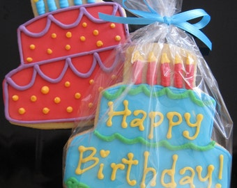 Decorated cookies, birthday cookies, birthday favors,