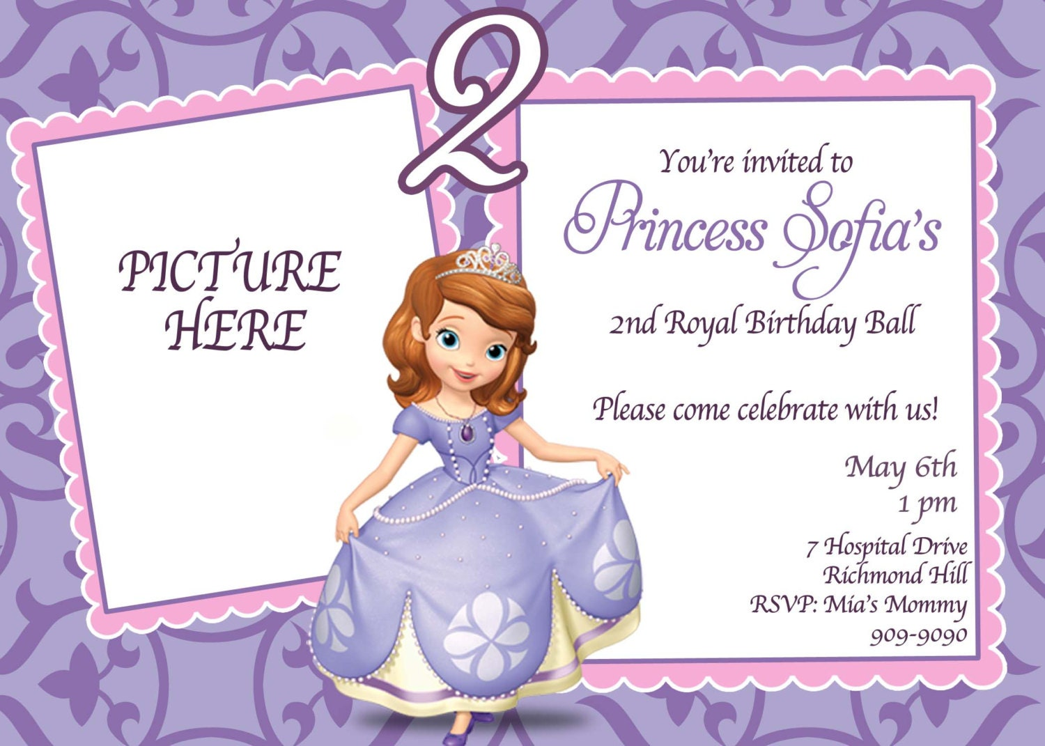 CUSTOM PHOTO Invitations Sofia the First Birthday Invitation – Custom 1st Birthday Invitations
