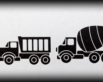 Toy trucks vinyl wall decal - pick up to 4 colors