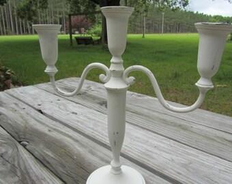 Shabby chic candle holder, wedding decor, white candle stick, candle holder, elegant wedding