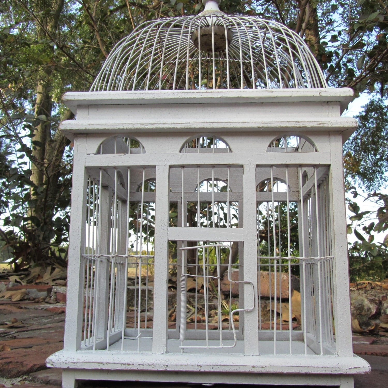 large birdcage shabby chic bird cage by karenschicnshabby on etsy. Black Bedroom Furniture Sets. Home Design Ideas