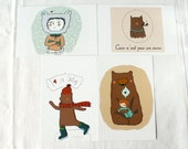 Bear postcards set of four assorted children and bears, in brown, mint, red, green, cream, white, kids illustrations