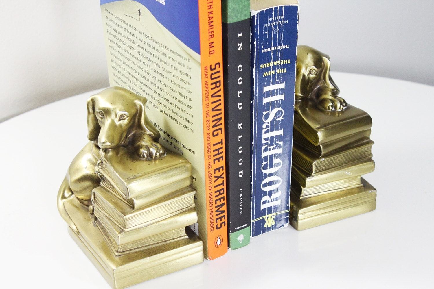 Vintage brass cast dachshund dogs bookends - Antique brass bookends ...