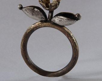silver and brass flower ring, with silver leaf and dots