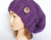 100% Wool purple hand knit slouchy beanie hat