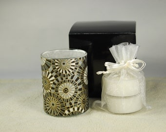 Votive Luminary, Black and Gold Umbrellas Japanese Chiyogami Papers