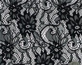 Make A Wish Black Floral Lace Fabric by the Yard Table Runner, Curtain, Pillow, Wedding Lace Fabrics - 1 Yard Style 264