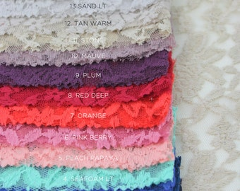 SINGLE SWATCH Scallop Lace  Sample Cuts - Color Swatches 17 Colors Lace Fabric Style 282