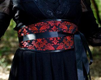 "Black Red Brocade Obi Belt ""Renaissance"" CrossesBlack Satin ribbons"