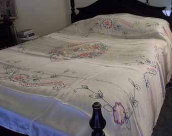 Bedspread Vintage Acetate Bedspread Whisper Yellow Embroidered