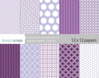purple digital scrapbook paper pack personal and commercial use - purple lavender lola scrapbooking paper pack - INSTANT DOWNLOAD