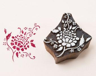 Wood block stamp, Indian rose