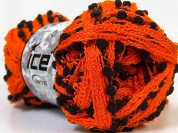 Knitting Ruffle Scarf Yarn Orange And Black 1 By