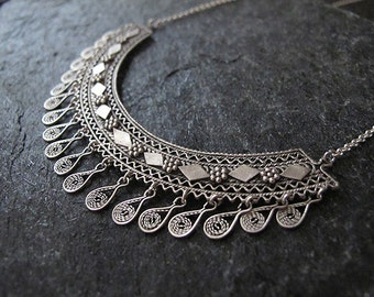 Filigree Necklace, Silver  necklace,Filigree silver necklace, Yemenite necklace, Ethnic necklace, Israel jewelry