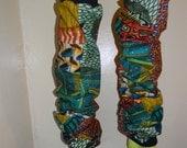 Patchwork African print legwarmers