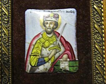 Miniature Painting - Icon of Polish  Saint on Porcelain
