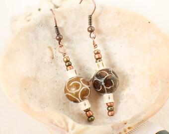 Etched Jade, Copper and Snake Vertebrae Earrings