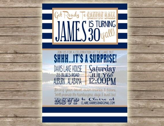 Lake Themed Wedding Invitations: Items Similar To Lake Surprise Birthday Party Invitation