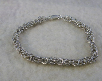 Byzantine chain bracelet of solid silver