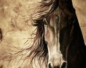 WISDOM, acrylic painting of a horse.  11x14 archival high quality print.