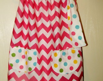 pink chevron pillowcase dress with pockets, pink chevron, pillowcase dress