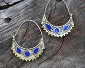 Afghani Kuchi Tribal Lapis Inlay Silver Hoop Earrings