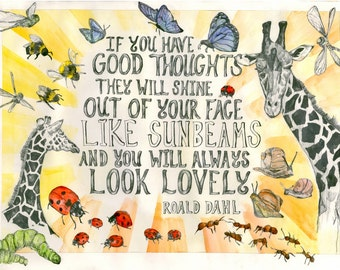 Giraffe Poster - 'You Look Lovely' Roald Dahl Quote.  A3. Digital Print. Nursery Poster.